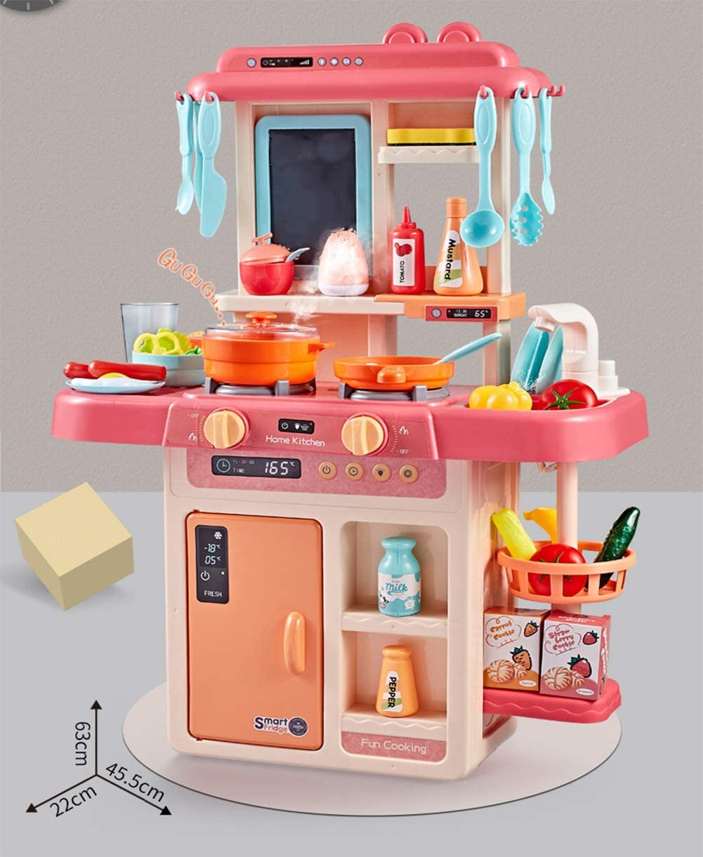 36PCS Kids Kitchen Playsets Little Tykes with Lights and Sounds for Boys Girls, Play Kitchen Set Kidkraft Large Toys Tableware Dishes Good Gift for Children, Including Cooking Sound, Vegetables, Food