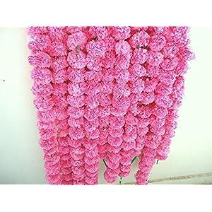Nexxa Artificial pink marigold flower garlands, beach party garlands, party decor, genda fool mala, honor garlands, wedding decorations 28