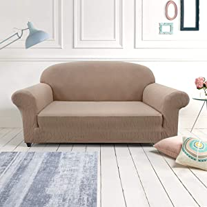 Jinchan Sofa Slipcover Taupe Loveseat Soft Spandex Fabric Big Weave Jacquard Stretch Furniture Protector with Elastic Bottom Pets Kids Children Dog Cat Living Room Bedroom Decor 1 Piece