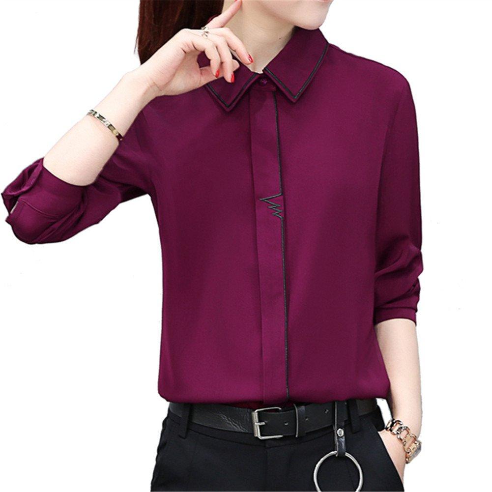 TLZC Women's Casual Long Sleeve Chiffon Top Shirts Tombit Women Casual Shirt HC03069