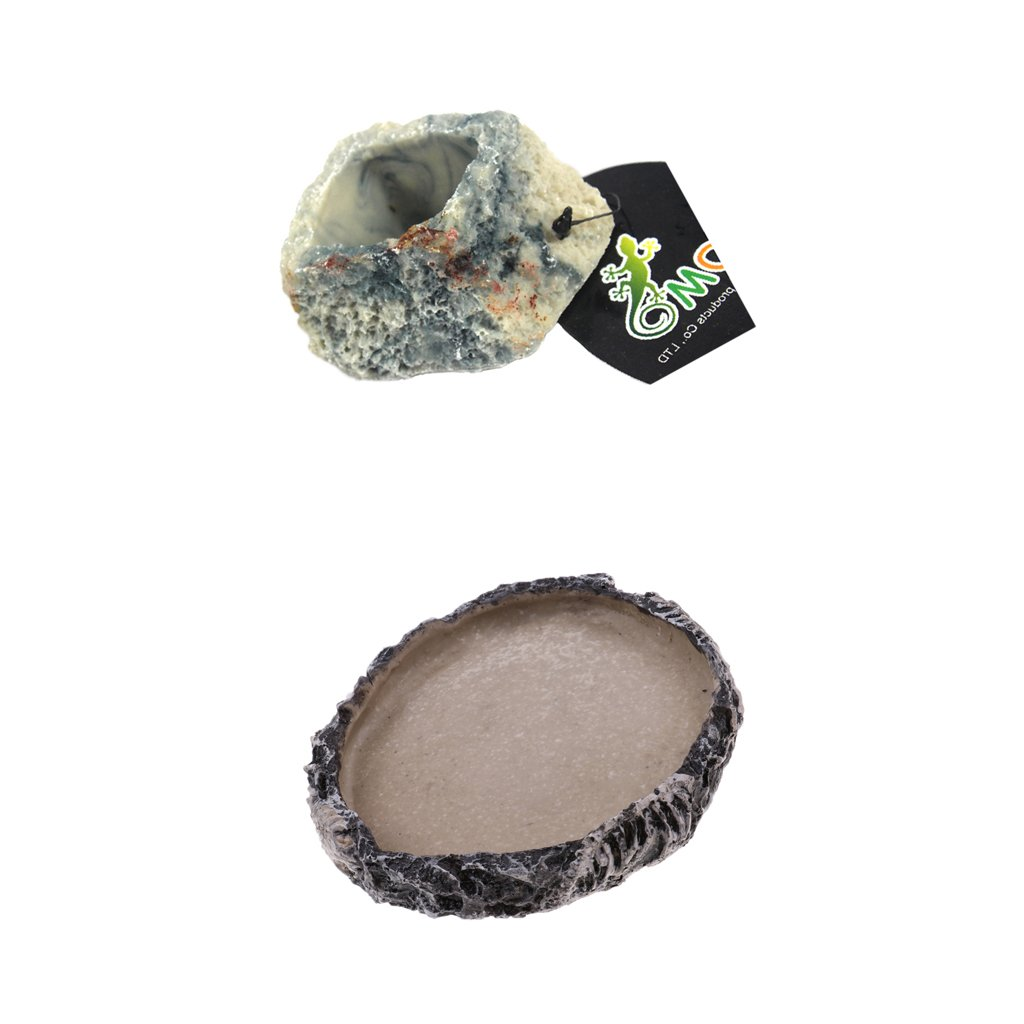 Baosity Set of 2, Reptile Tortoise Water Dish Food Bowl Toy For Amphibians Gecko Snakes Lizard #4