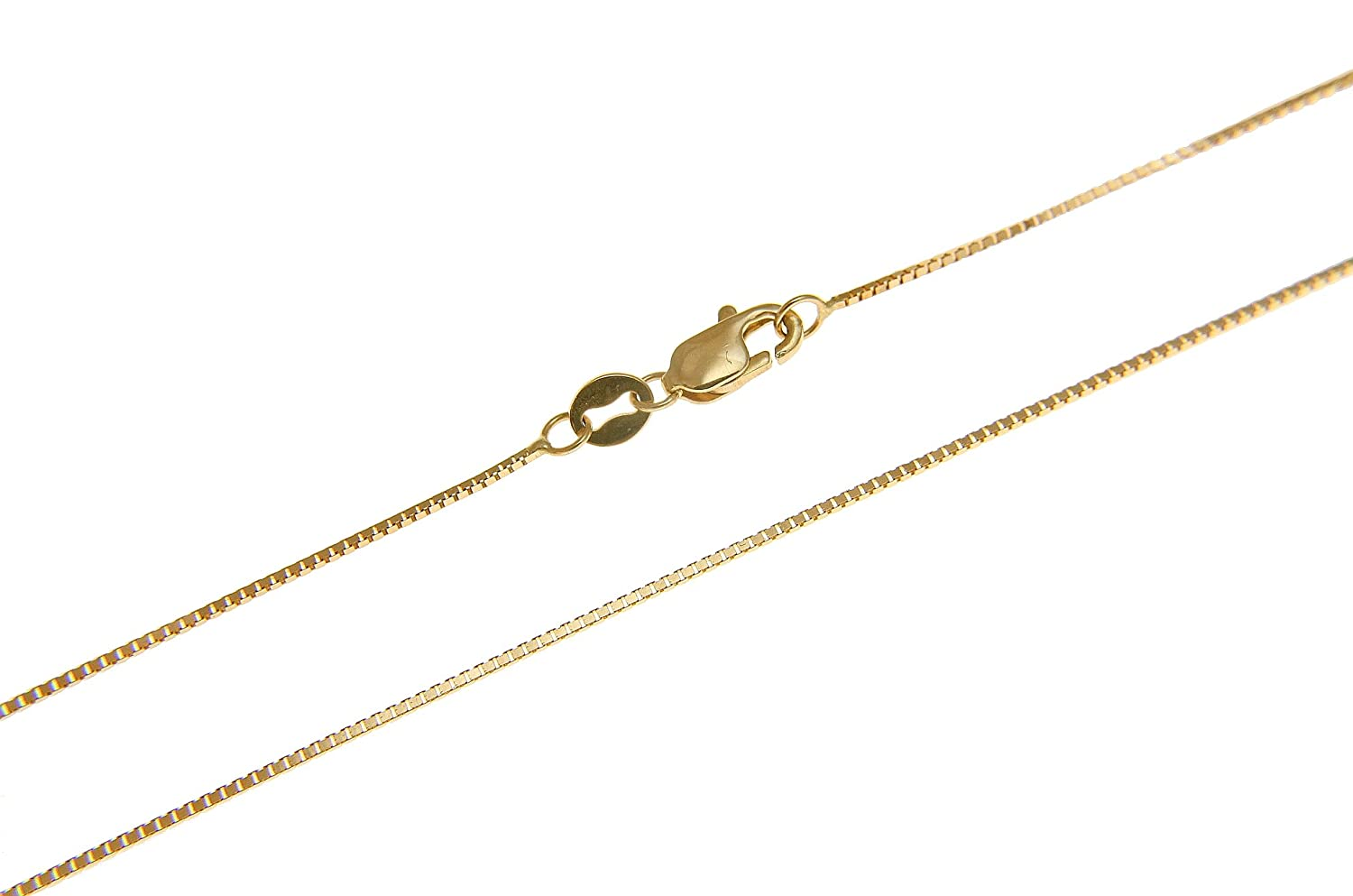 14K solid yellow gold 0.65mm box chain necklace lobster clasp 16-24