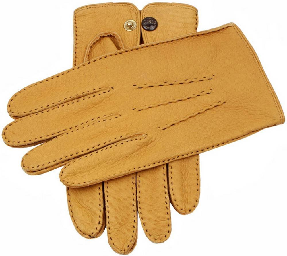 Dents Mens Clifton Unlined Peccary Leather Gloves - Cork - Large/Extra Large