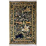 Rugstc 3'1 x 5'1 Pak Persian Area Rug with Silk & Wool Pile - Pictorial Hunting Shikargah Design | 100% Original Hand-Knotted in Green,Beige | 3x5 Rectangular Double Knot Rug