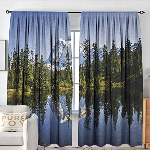 Curtains for Bedroom Landscape,Fall Colored Trees and Snowy Mountain Landscape with Crystal Lake Nature, Green Blue White,Darkening and Thermal Insulating Draperies 84