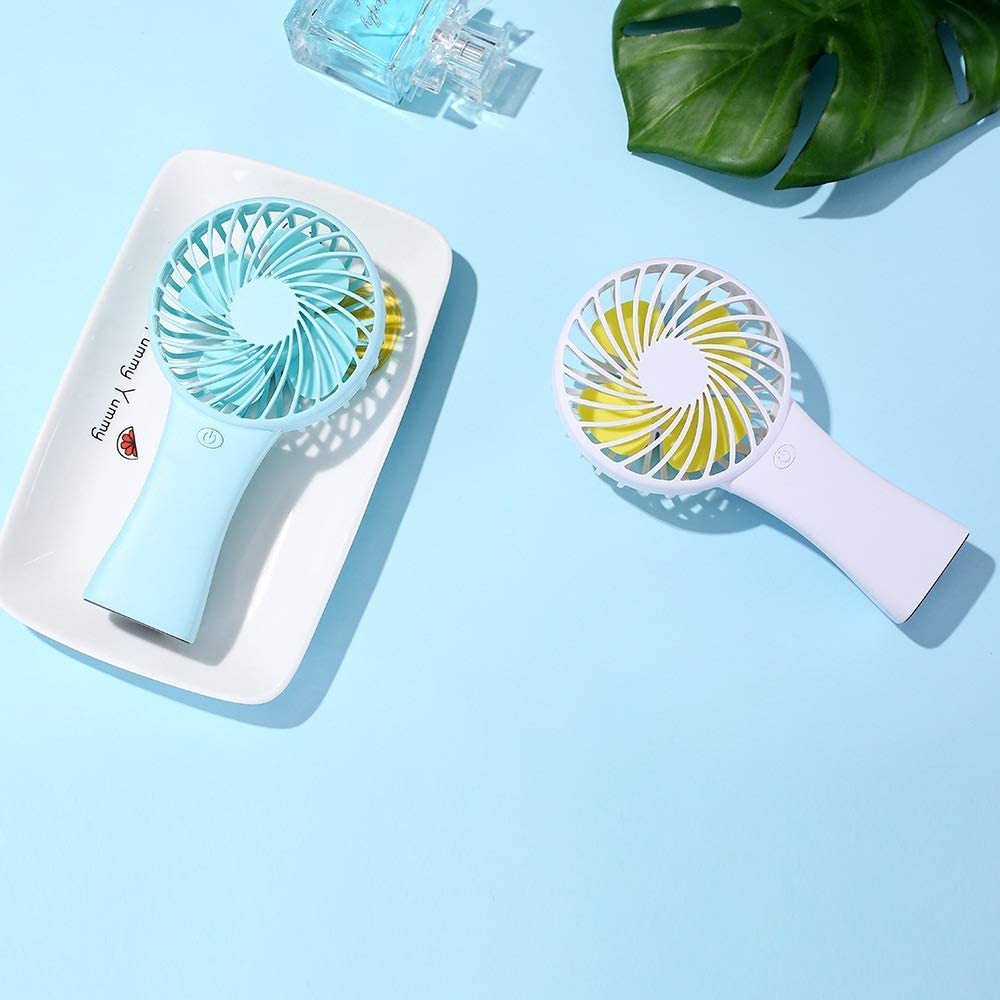 Bjzxz USB Mini Fan Portable Test Fan Office Computer Mini Fan,Portable Fan Handheld USB Mini Small Portable Carrying Battery Foldable Desktop Dual-use Fan Color : Blue