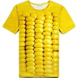 立体とうもろこし柄Tシャツ&サングラス 3DおもしろコーンTシャツと黄色いサングラスのセット [並行輸入品]