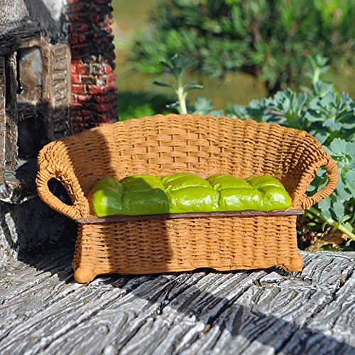 Miniature Fairy Garden Wicker Settee with Cushion, Natural