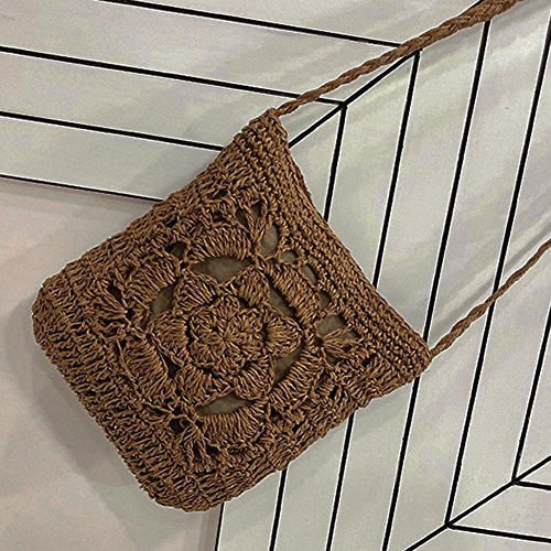 Coffee Crochet Braid Women Shoulder Bag Girls Beige Vintage Summer Messenger YouN Bags wxPf44