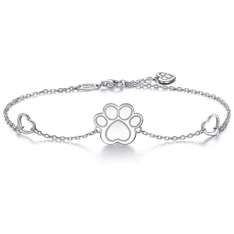 AmorAime S925 Sterling Silver Dog Cat Paw Print Bracelet Heart Charm Adjustable Chain Bracelet Great Gift for Pet Lover