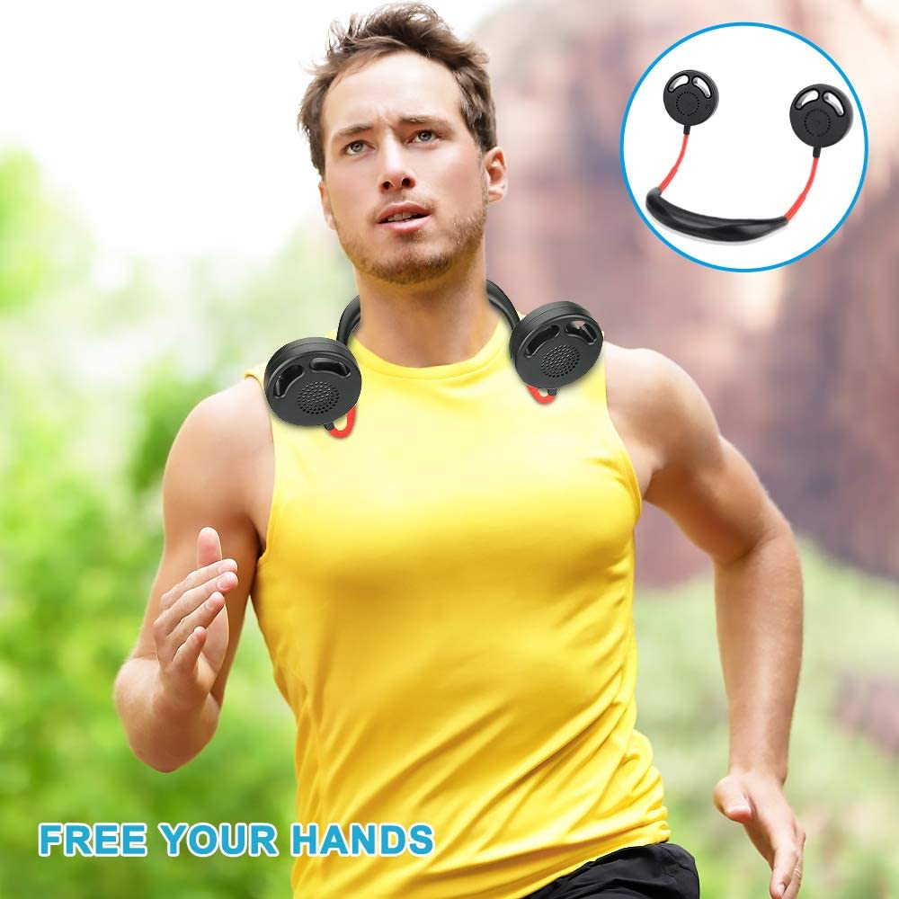 Neck Sports Fan Portable Hanging USB Rechargeable Fan Achort Personal Hands Free Wearable Neckband Fan 2000mAh Battery with 360 Degree Adjustable 3 Speeds Mini Necklace Fan for Office Travel Outdoor