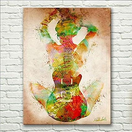 raybre arte abstracto Mujer desnuda celebración color guitarra aceite pintura moderna arte estirada y enmarcado listo