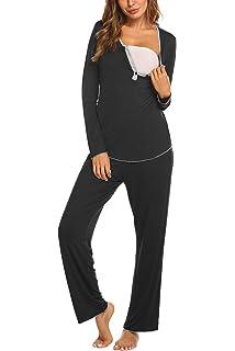 7ffed8cdfd MAXMODA Damen Stillpyjama Spitze Langarm/Kurzarm Umstandspyjama Set  Baumwolle Umstands/Still-Schlafanzug mit