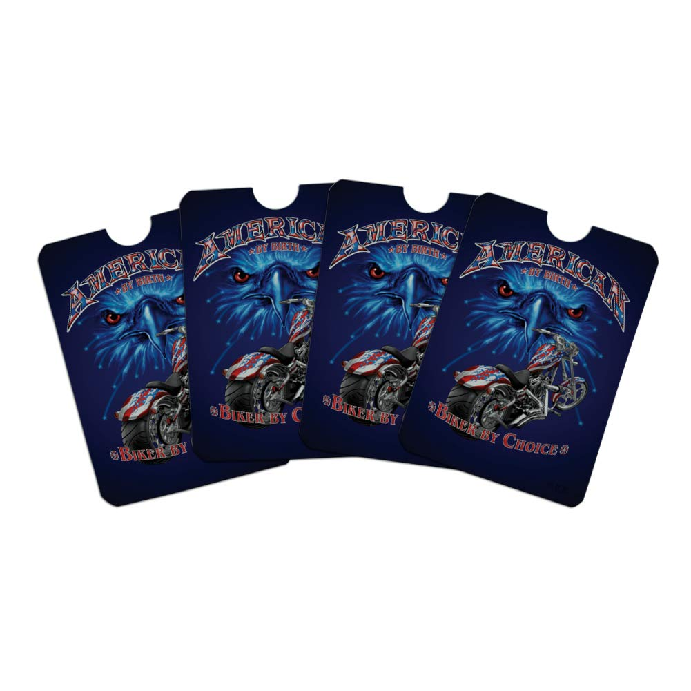American by Birth Biker By Choice Motorcycle USA Flag Eagle Credit Card RFID Blocker Holder Protector Wallet Purse Sleeves Set of 4