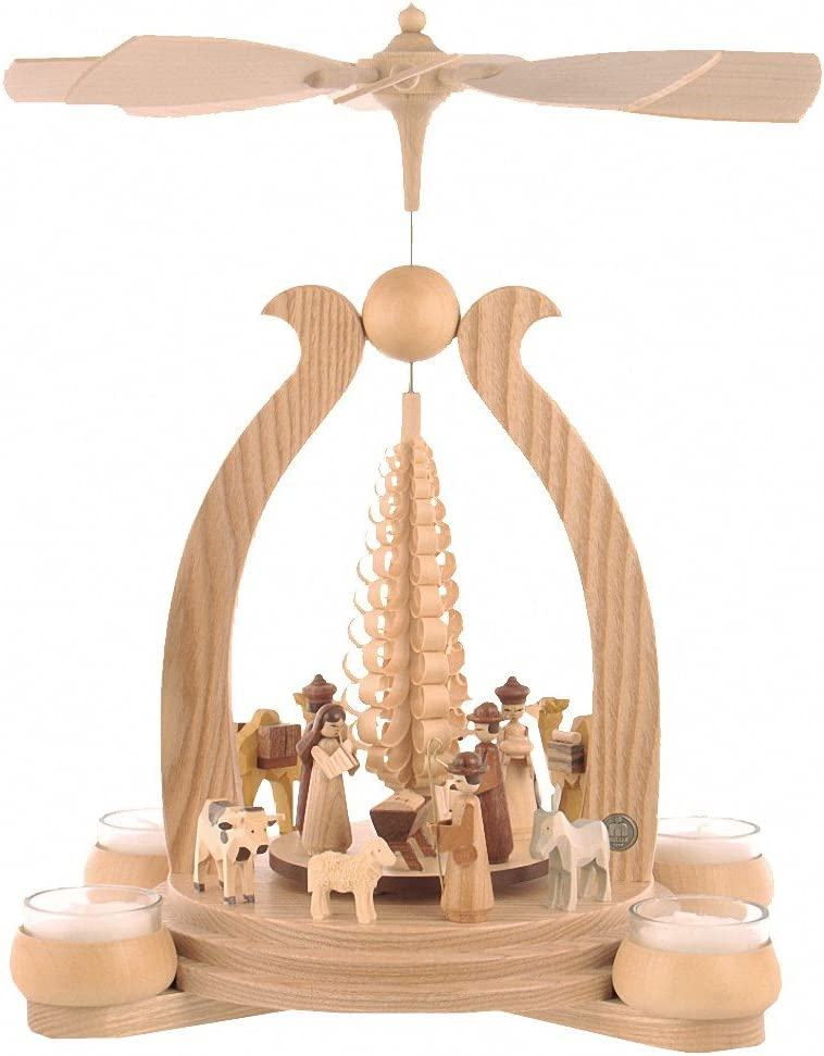 M ller German christmas pyramid arch Christmas story, 1-tier, height 34 cm 13 inch, natural with tealights, original Erzgebirge by Mueller Seiffen MU 10352