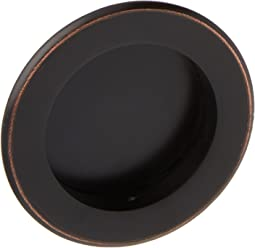 Round Flush Sliding Door Pull - Oil Rubbed Bronze