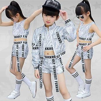 77590e5a1 Voleseni™ Girls Children Modern Jazz Hip-Hop Dancewear Kids Dance Sequins  Coat Costumes Sets