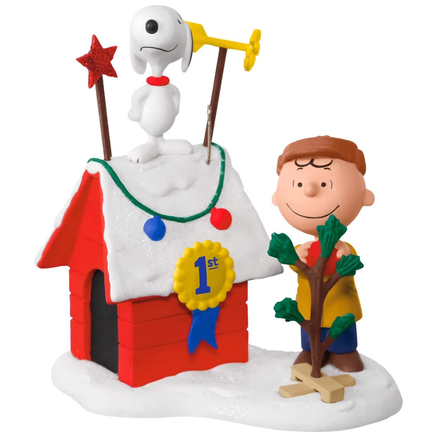 PEANUTS Charlie Brown and Snoopy Decked-Out Doghouse Sound Ornament With Light Movies & TV