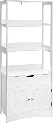 VASAGLE Free Standing Linen Tower, Bathroom Storage Cabinet, Bookcase with 3 Open Shelves, 1 Drawer and 1 Cupboard, 23.6 x 12.8 x 60.6 Inches, for Entryway, Kitchen, Study Room, White UBBC67WT