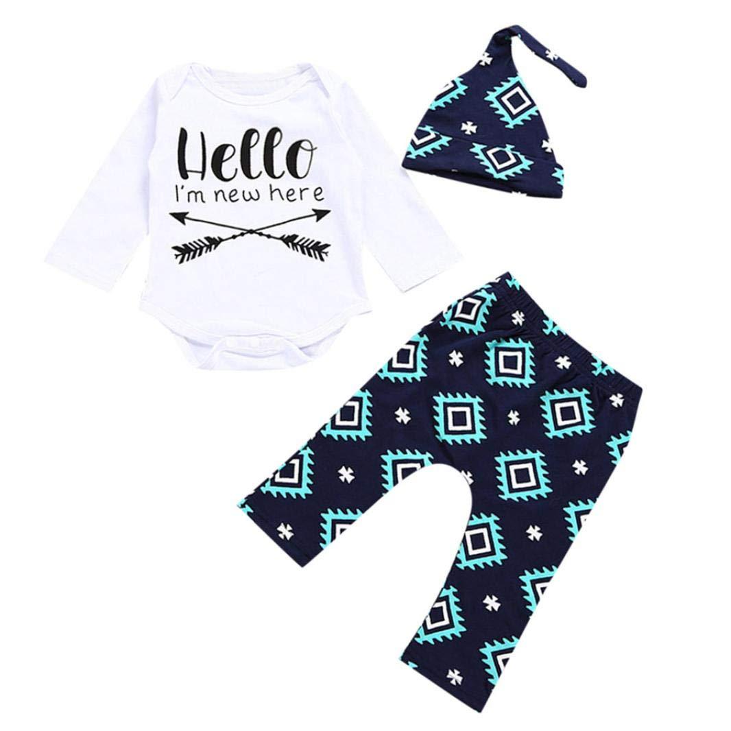 Winsummer Baby Layette Set Newborn Infant Baby Boy's Print Romper Tops+Long Pants +Hat Cotton Bodysuit Pajamas Clothes