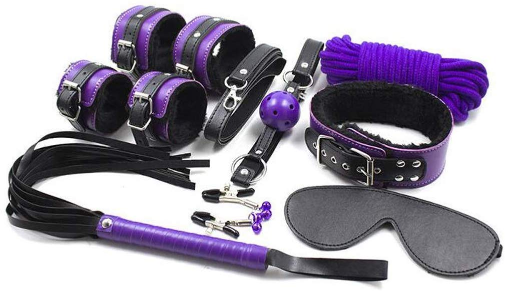 Bed restraint set, women's lovers, with soft leather adjustable handcuffs wrist cuffs straps T-shirt by QF sexy leather store