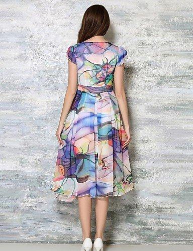PU&PU Robe Aux femmes Trapèze / Swing Simple,Imprimé Col en V Midi Coton / Polyester , light blue-l , light blue-l