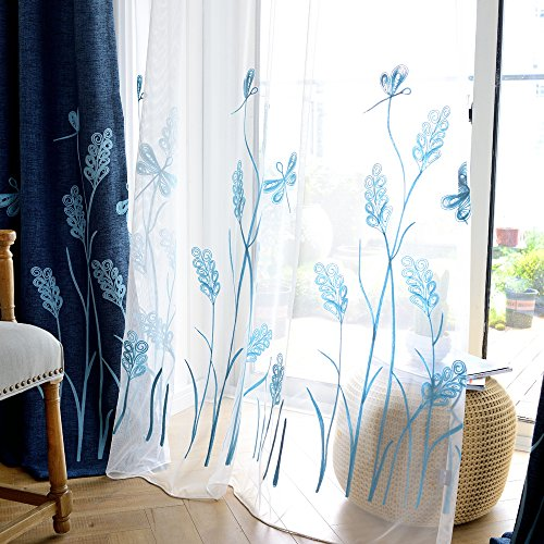 Melodieux Wheat Embroidery Sheer Window Rod Pocket Top Voile Curtains for Patio 100 by 96 Inch White/Blue 1 ()