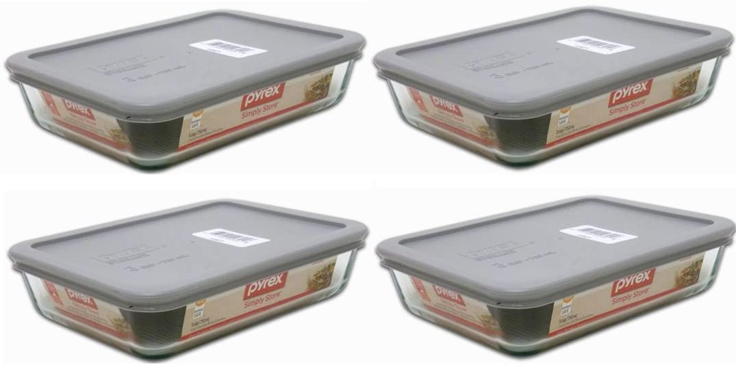 Pyrex 3-Cup Rectangle Food Storage with Grey Lid (Pack of 4 Containers)