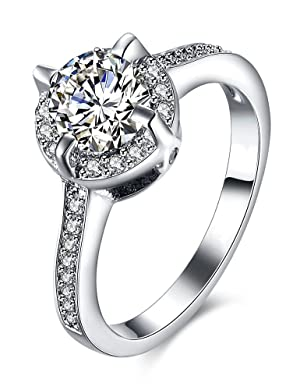 PMANY Engagement Rings Platinum-Plated Sterling Silver Round Cubic Zirconia Diamond Wedding Ring for Women (Size 7)