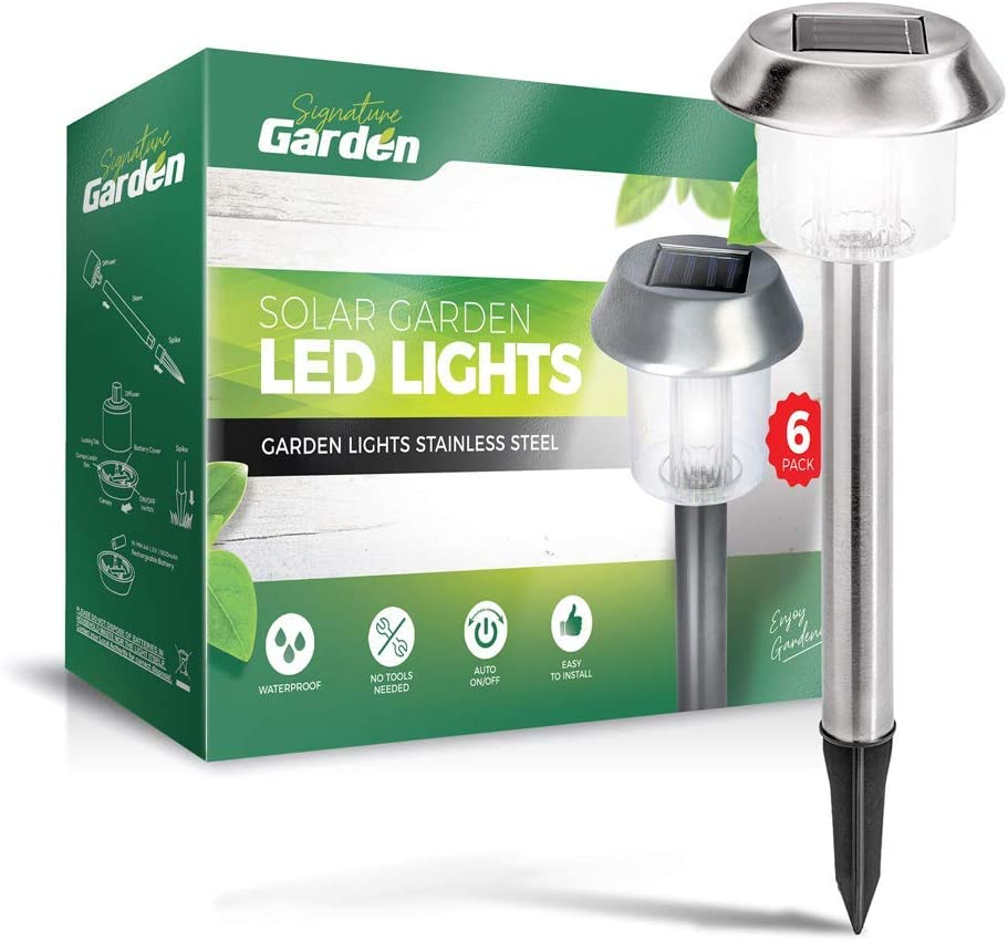 Signature Garden 6 Pack Solar Garden Lights - Super-Bright 15 Lumens - Premium Stainless Design; Makes Garden Pathways