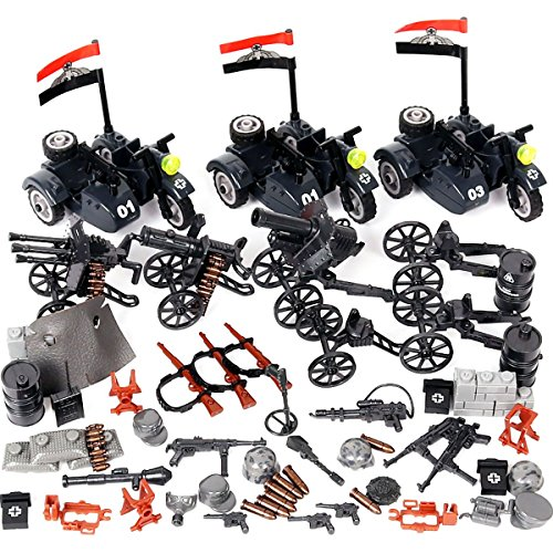 Kolobok WW2 Nazi Toys War Set - WWII German Army Men Wehrmacht Motorcycle Infantry Weapons Pack – Guns and Accessories for Minifigures - Building Blocks Military Toys 64 pcs Major Brands Compatible - German Army Motorcycles
