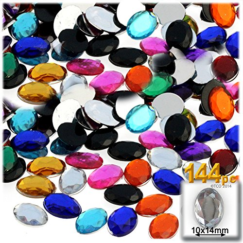 The Crafts Outlet 144-Piece Oval Rhinestones, 14mm, Jewel Tone Assortment