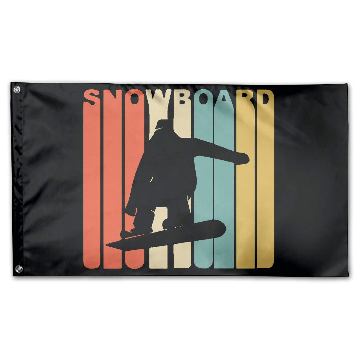 Retro 1970's Style Snowboarder Silhouette Snowboard Indoor/Outdoor Banner 100% Polyester Flag Garden Flag 3x5