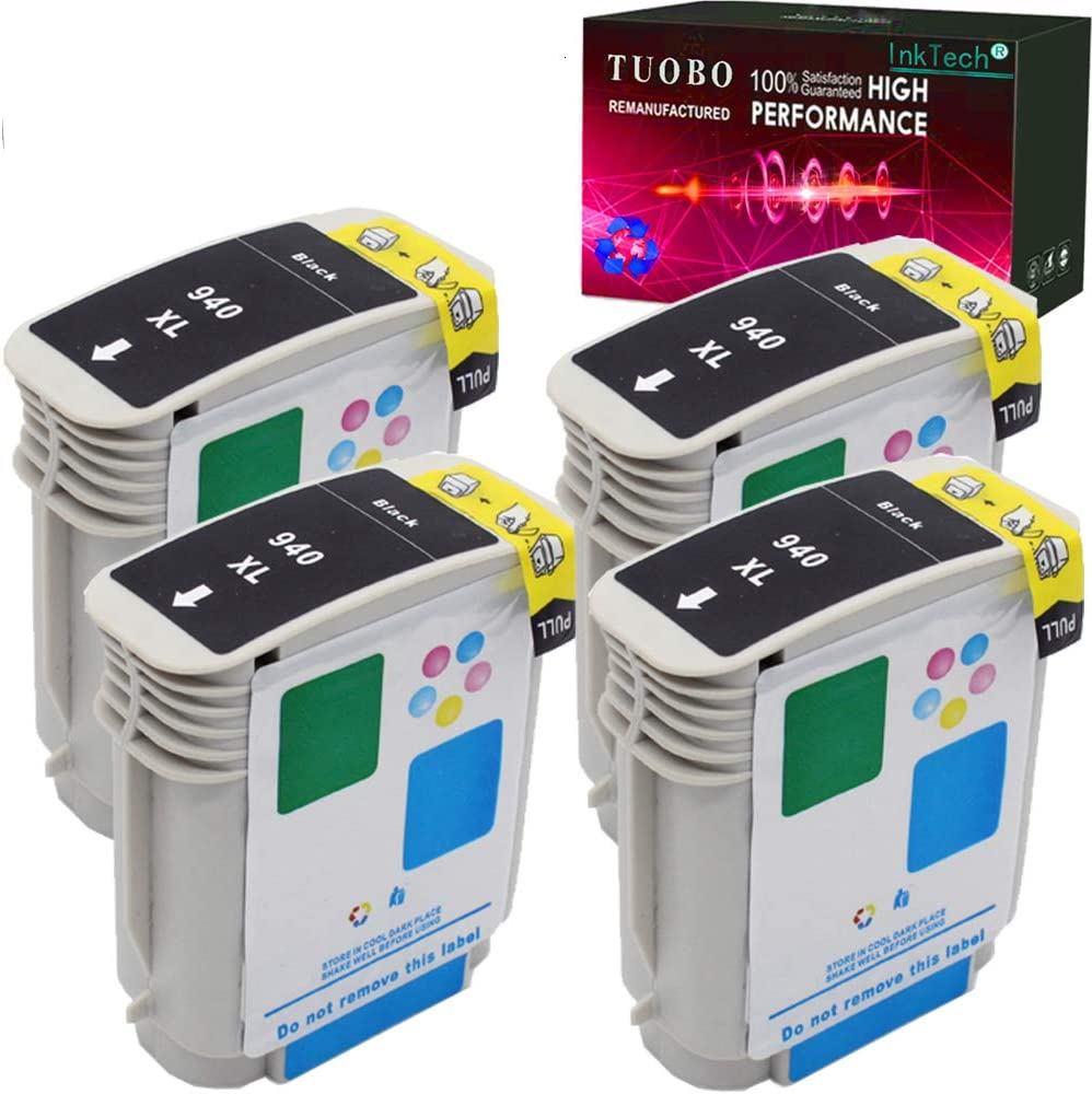 Tuobo Compatible Replacement for H-P 940 940xl Ink Cartridges High Yield, Work on H-P Officejet Pro 8000 8500 8500A 8500A Plus Printer(4 Black)