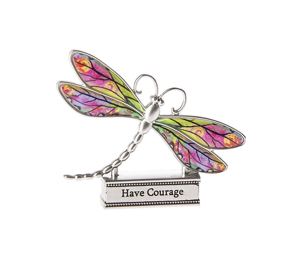 Ganz Everyday Home Decor Live with Joy 1.5in Colorful Dragonfly Figurine (Courage) by Ganz