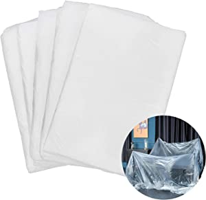 5PACK Plastic Drop Cloth for Painting, 10 x 13 ft Clear Plastic Sheeting Painting Furniture Cover Paint Tarps, Heavy Duty Dust Cloths Floors Covering Plastic Moving Covers for Painting Protection