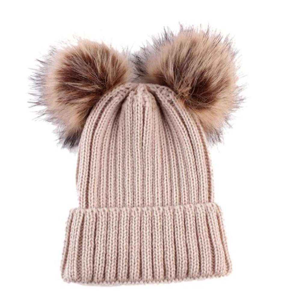 Women Kids Baby Girls Boys Knitted Fur Pom Bobble Hats Beanie Winter Thermal Cap