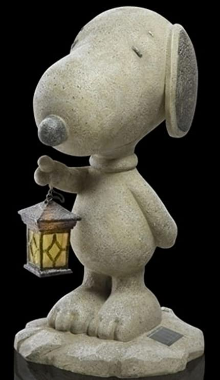 18u0026quot; Peanuts Snoopy With Lantern Solar Powered Outdoor Garden Statue