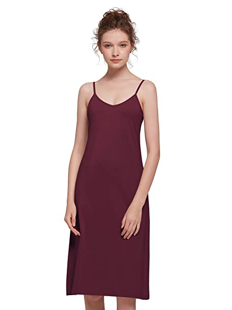 fcd746ee117 AW Burgundy Slip Dress Cotton Stretchy Cami Slip for Women Under Dress Long  with Ajustable Spaghetti