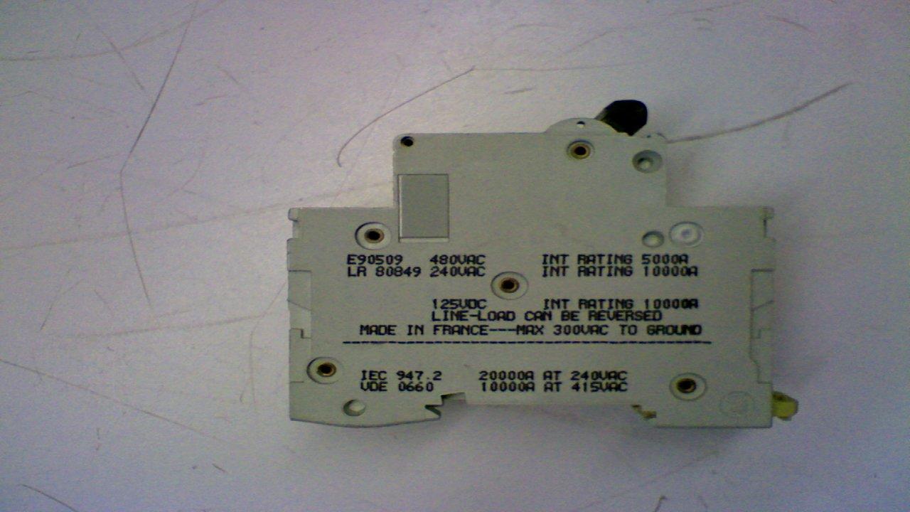 Merlin Gerin C4A Multi9 C60 2-Pole Circuit Breaker 480Y//277V~125V