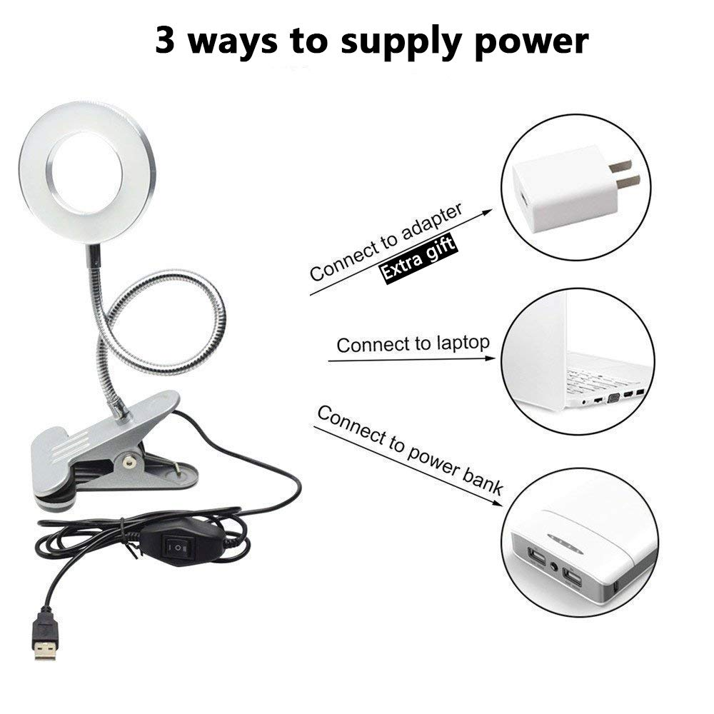 W-Lite 6W LED USB Clip on Light for Bed,Book Reading Desk Lamp Black with Eye