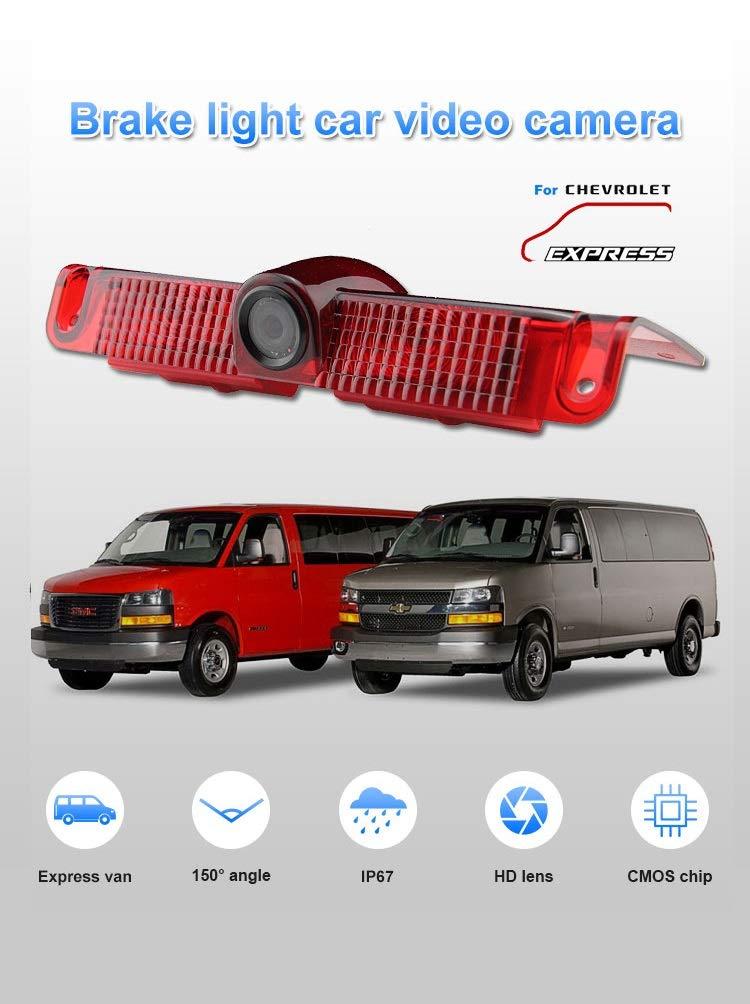 Night Vision 3rd Brake Light Reversing Backup Camera TUXIN-DIRECT 4.3 inch TFT Monitor Display for GMC Savana Chevrolet Explorer Chevy Express 1500 2500 3500 Van 2003-2018