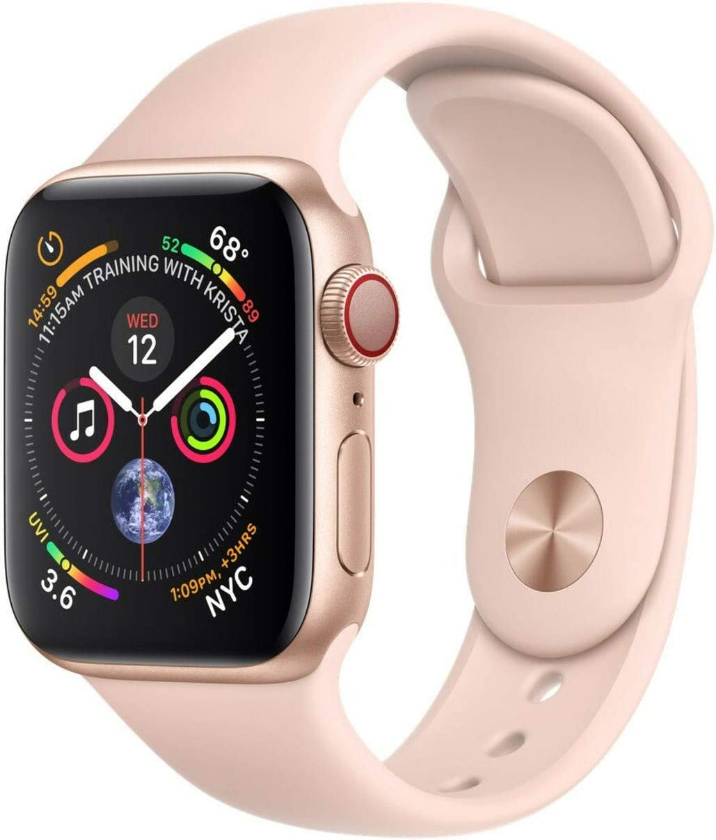 Apple Watch Series 4 (GPS + Cellular, 44MM) - Gold Aluminum Case with Pink Sand Sport Band (Renewed)