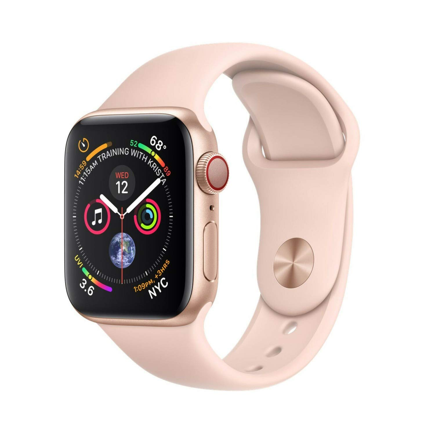 Apple Watch Series 4 (GPS + Cellular, 40mm) - Gold Aluminium Case with Pink Sand Sport Band (Renewed) by Apple