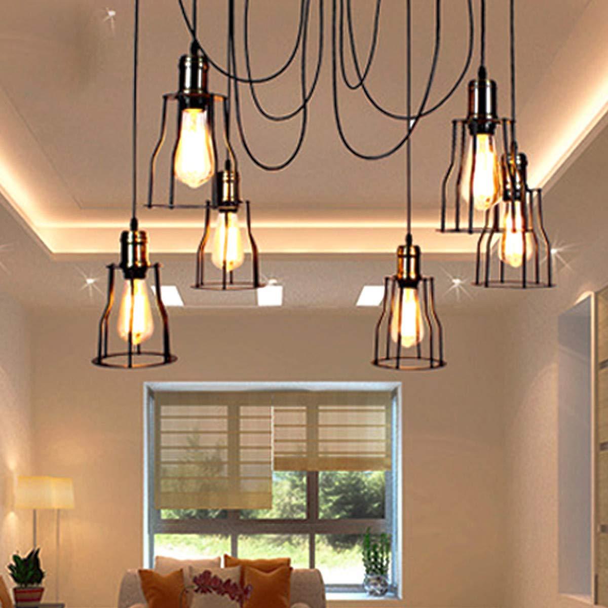 NANGE Vintage Chandelier,Edison Multiple Adjustable DIY Metal Wire Cage Pendant Lighting,Modern Chic Industrial Dining Light,E27(Without Light Source) (Color : Warm White, Size : AC 220V) by NANGE (Image #7)
