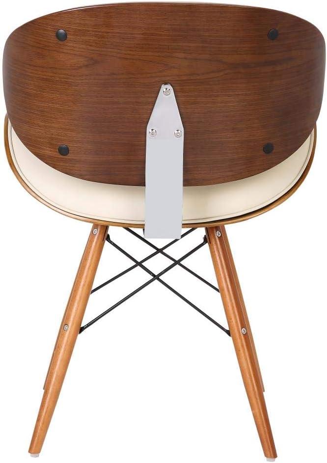 folkbury Chaise de Bureau Style Retro en Similicuir avec Pieds en Bois Finition Noyer (Ivoire)