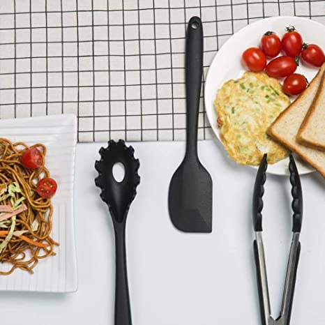 10 pezzi Nero Utensili da cucina in silicone domestici di Lysport Utensili di cottura e cottura resistenti al calore Non Stick Non Scratch Utensili da cucina Cucina buona Helper