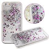 iPhone 6 Plus,iPhone 6 Plus 5.5 Case,UZZO 3D Creative Liquid Glitter Design iPhone 6 Plus (5.5) Case,Glitter Bling Hearts Flowing Liquid Hard Case for iPhone 6 Plus (5.5) (Star Silver)