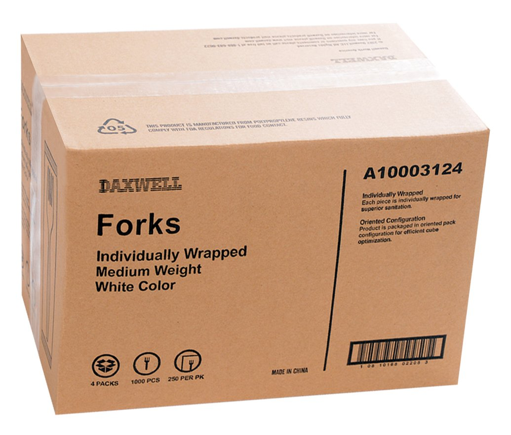 Individually Wrapped Recyclable Case of 1,000 Daxwell Medium Weight Polypropylene 5.5 Soup Spoon White