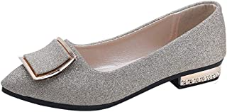 Sunnywill Paillettes Femmes Chaussures Peu Profondes, Chaussures à Talons Bas Pointu Chaussures Simples